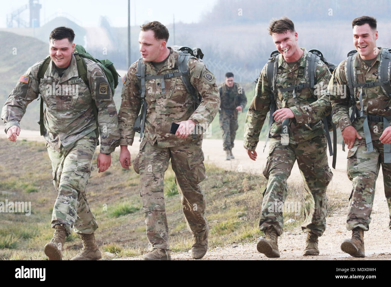 KFOR Multinational Battle Group-East Soldiers ruck march