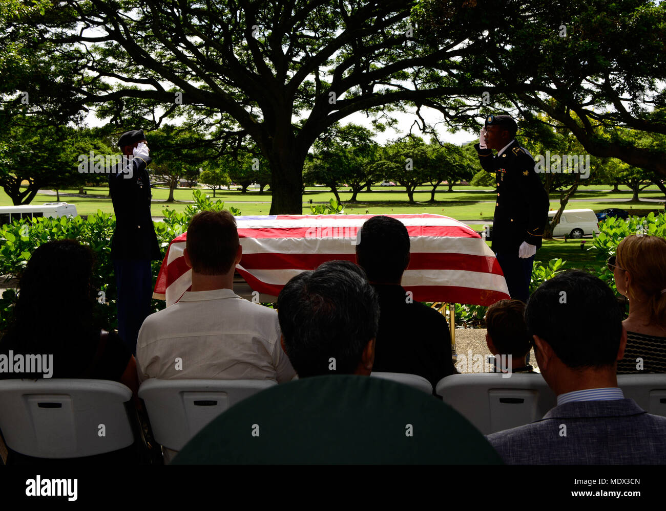 U.S. Soldiers assigned to 225th Brigade Support Battalion, 2nd Infantry Brigade Combat Team, 25th Infantry Division salute the remains of U.S. Army Pfc. Albert E. Atkins, Dec. 15, 2017, in the National Memorial Cemetery of the Pacific, Honolulu, Hawaii. On May 23, 1951, Atkins, a member of Company E, 2nd Battalion, 187th Airborne Infantry Regiment, 187th Airborne Regimental Combat Team, engaged enemy forces with his unit near Mae-Bong, South Korea. Atkins and two other soldiers from his company were reported missing in action. Atkins was recently identified through DNA analysis with the help o - Stock Image