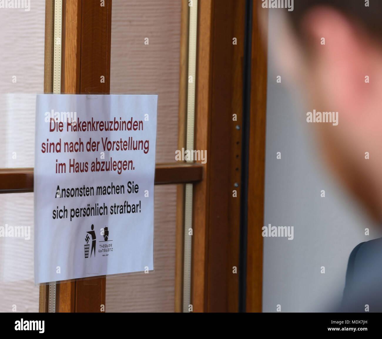 20 April 2018, Germany, Konstanz: A sign reads \