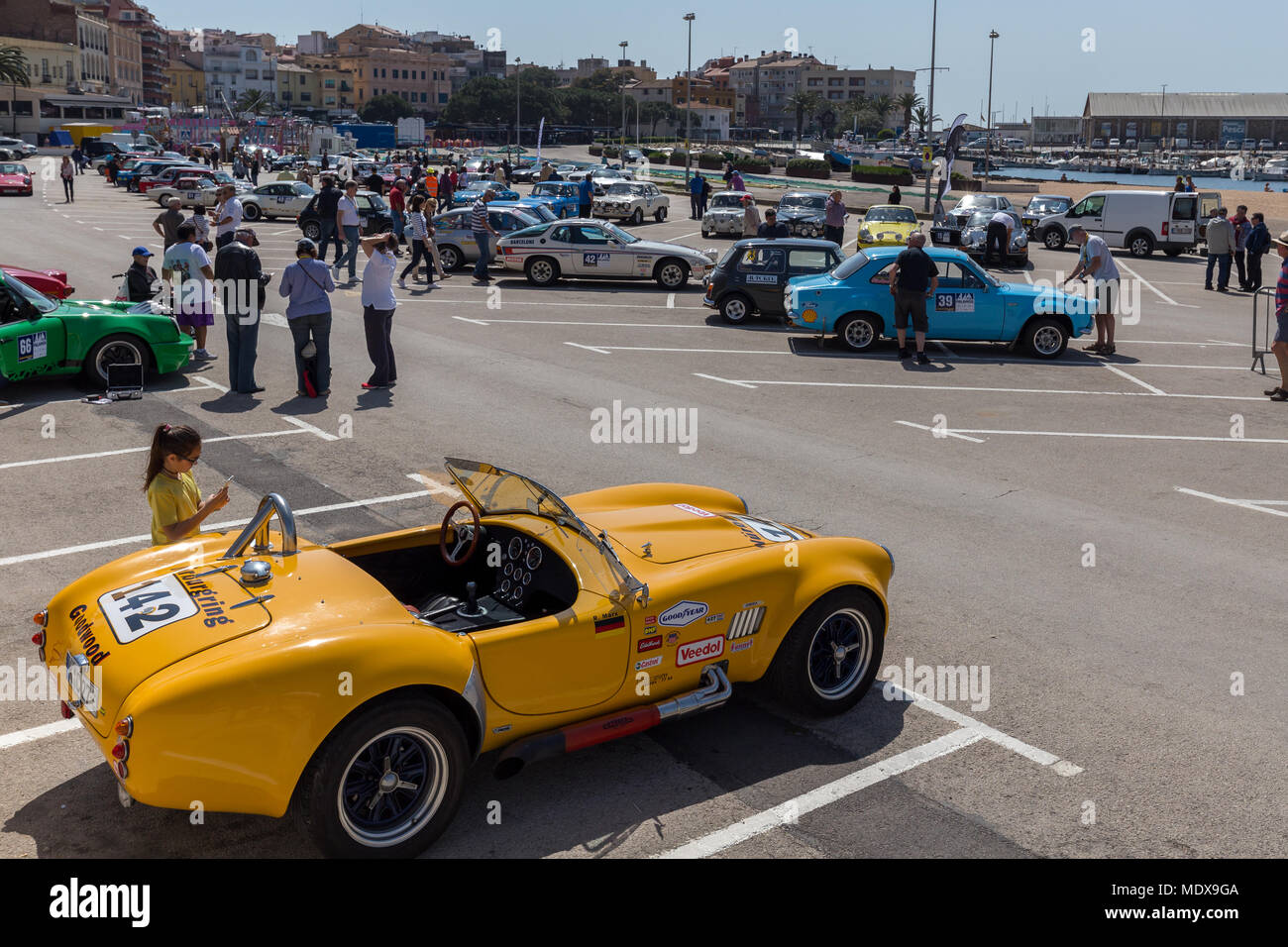 Catalonia, Spain. 20th April, 2018. XV Rally Costa Brava Historic car race in a small town Palamos in Catalonia. 04. 20. 2018 Spain, town Palamos Credit: Arpad Radoczy/Alamy Live News - Stock Image