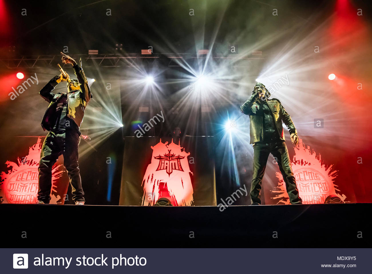 IAM performing live at the first edition of MUSILAC Mont-Blanc music festival in Chamonix (France) - 20 April 2018 - Stock Image