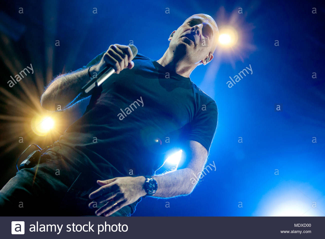 Chamonix, France. 20th April 2018. IAM (singer Philippe Fragione aka Akhenaton) performing live at the first edition of MUSILAC Mont-Blanc music festival in Chamonix (France) - 20 April 2018 Credit: Olivier Parent/Alamy Live News - Stock Image