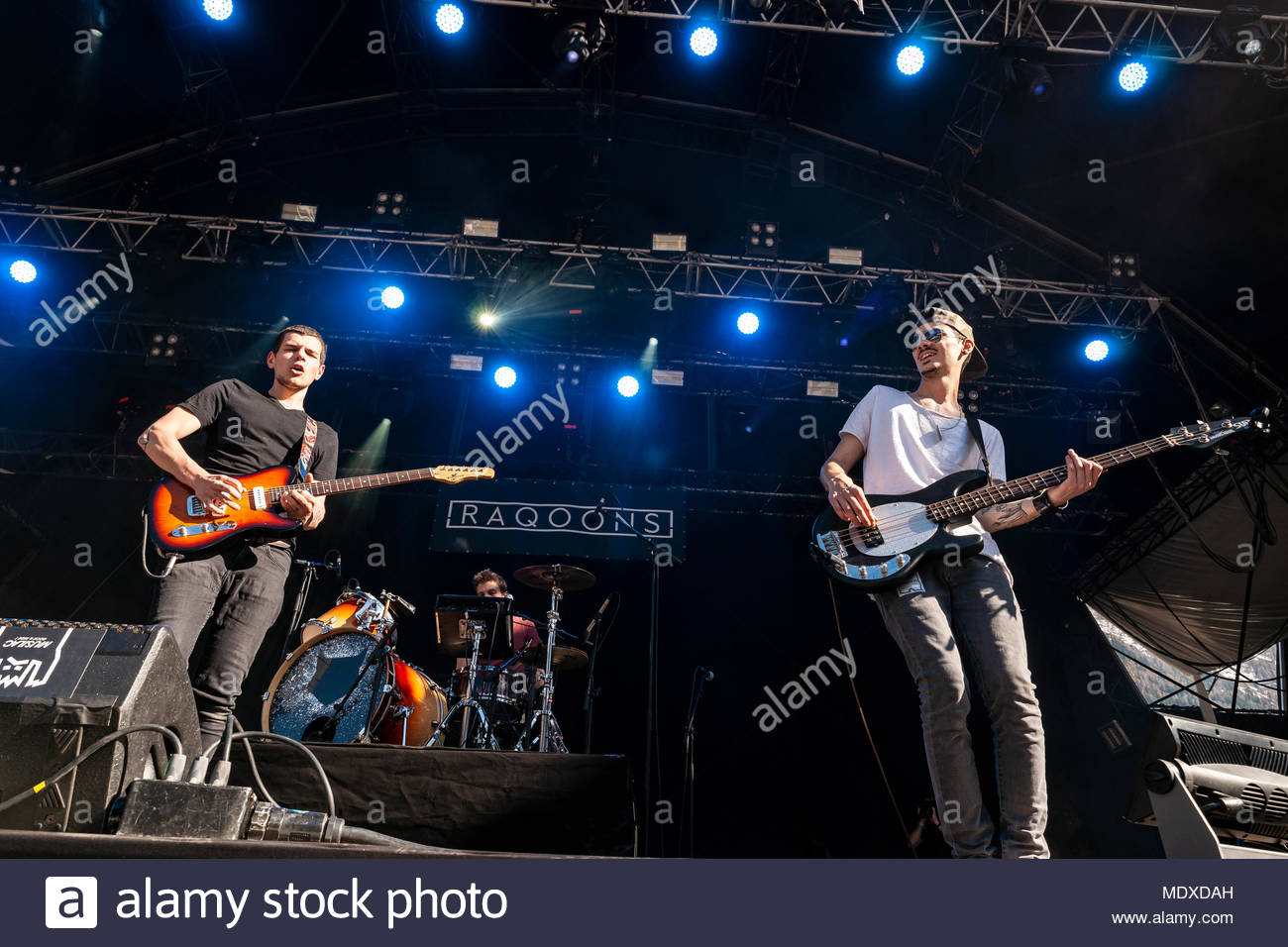 Chamonix, France. 20th April 2018. Raqoons performing live at the first edition of MUSILAC Mont-Blanc music festival in Chamonix (France) - 20 April 2018 Credit: Olivier Parent/Alamy Live News - Stock Image