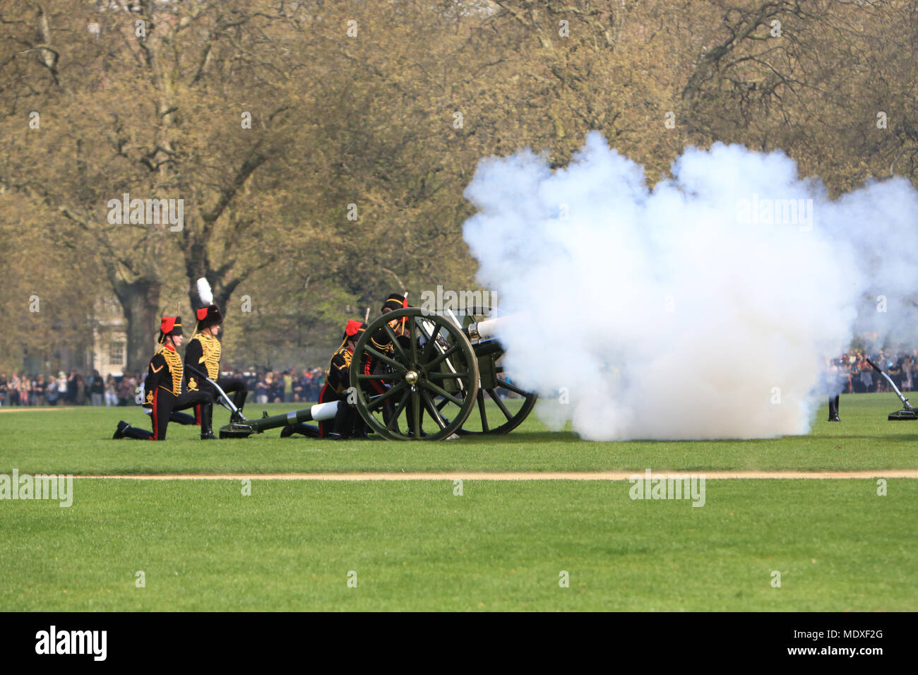 London, UK. 21st April, 2018. A 41 gun salute in Hyde Park, London, took place today on April 21st, to mark the 92nd birthday of Her Majesty Queen Elizabeth 11. Credit: Monica Wells/Alamy Live News - Stock Image