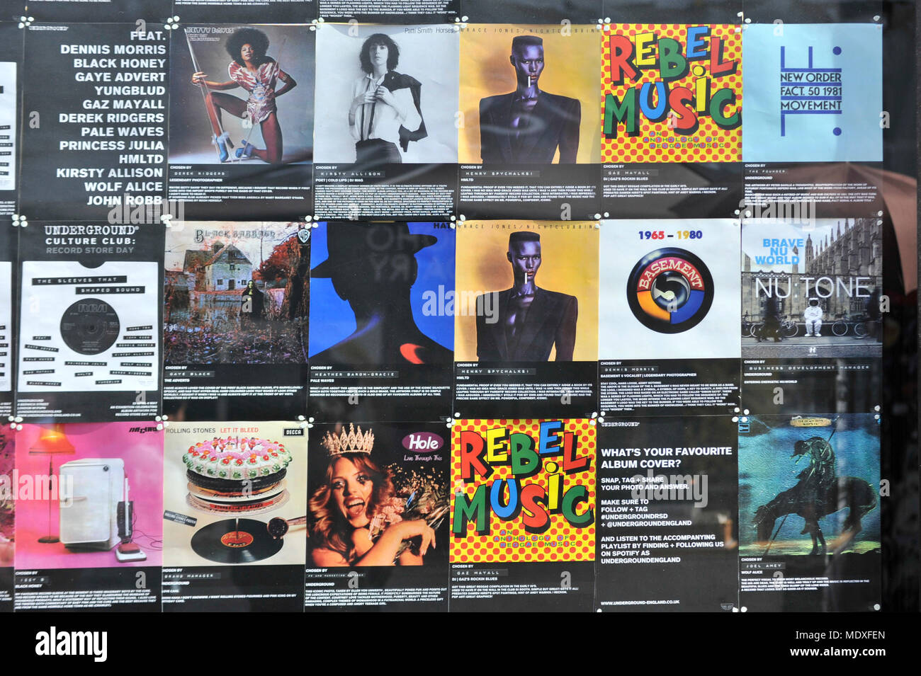 London, UK  21 April 2018  A display of album covers in Soho to