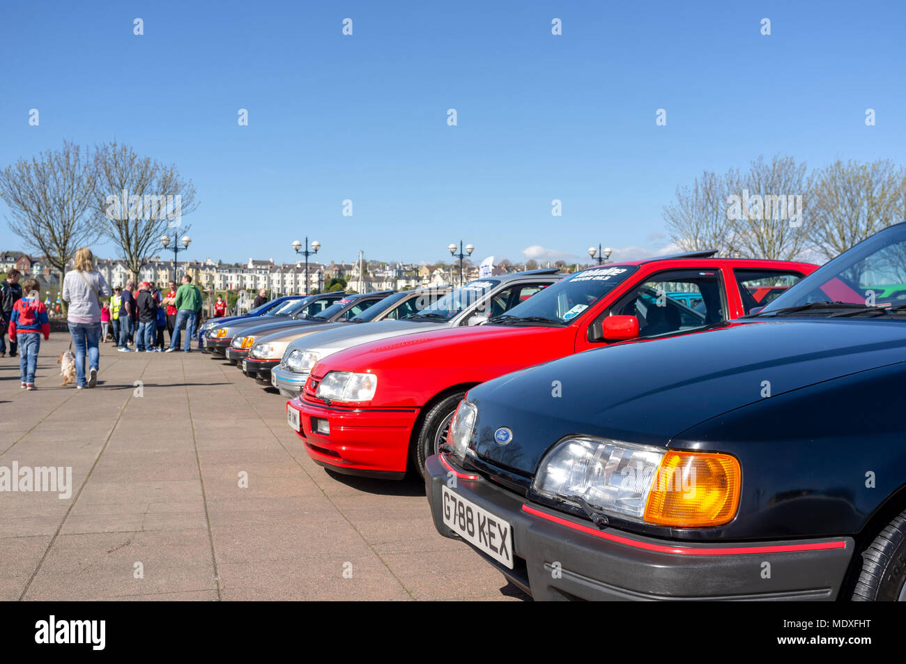 Bangor, Northern Ireland, UK, 21 April 2018. Assorted Ford cars gather in support of  the Cancer Centre in an event organised by The Capri Club of Northern Ireland. Credit J Orr/Alamy Live News - Stock Image