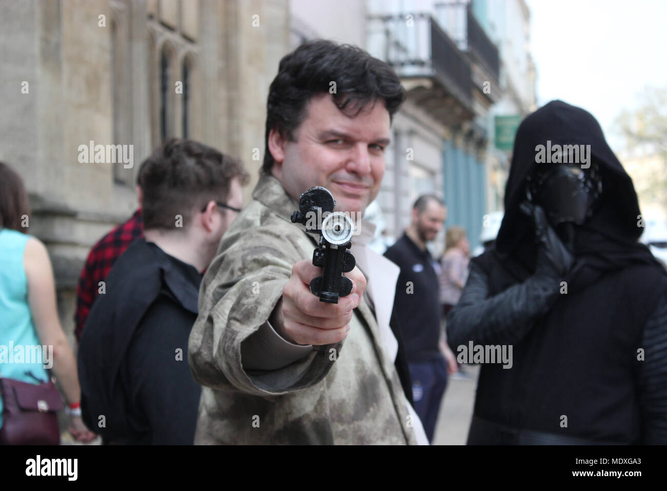 Oxford, UK. 21st April 2018. Cosplayers attend Comic Con, Oxcon III, Oxford, UK, Saturday 21st April 2018, Rosanna Marie Saracino Credit: Rosanna Saracino/Alamy Live News - Stock Image