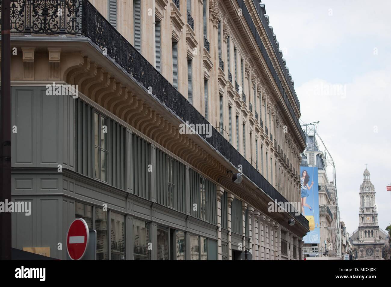 Paris, 9th arrondissement, rue de la Chaussee d'Antin, angle of the rue Meyerbeer, facades, balcony, - Stock Image