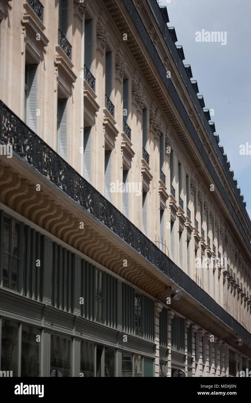 Paris, 9th arrondissement, rue de la Chaussee d'Antin, angle of the rue Meyerbeer, facades, balcony, Stock Photo