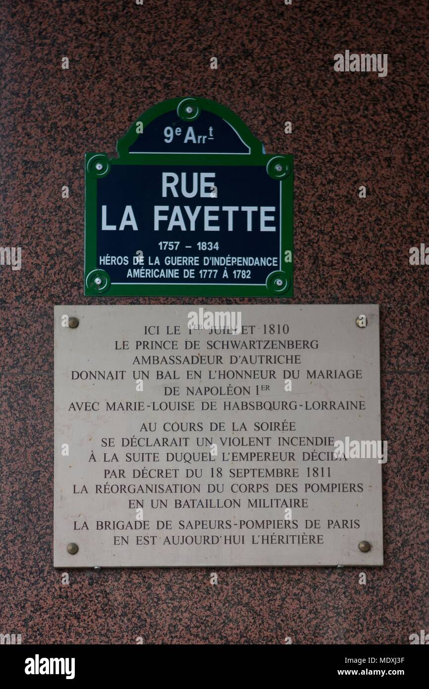 Paris, 9th arrondissement, rue La Fayette, street sign, sign in honor of the firefighters corps created by Napoleon I - Stock Image