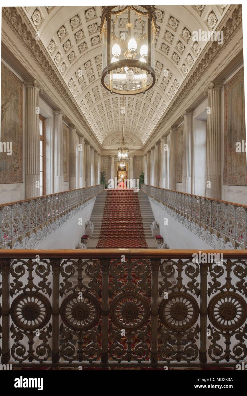 Paris, Palais du Luxembourg, Senat, Grand escalier d'honneur, Napoleon I, female lions and decorations in the style of the  First French Empire, Stock Photo