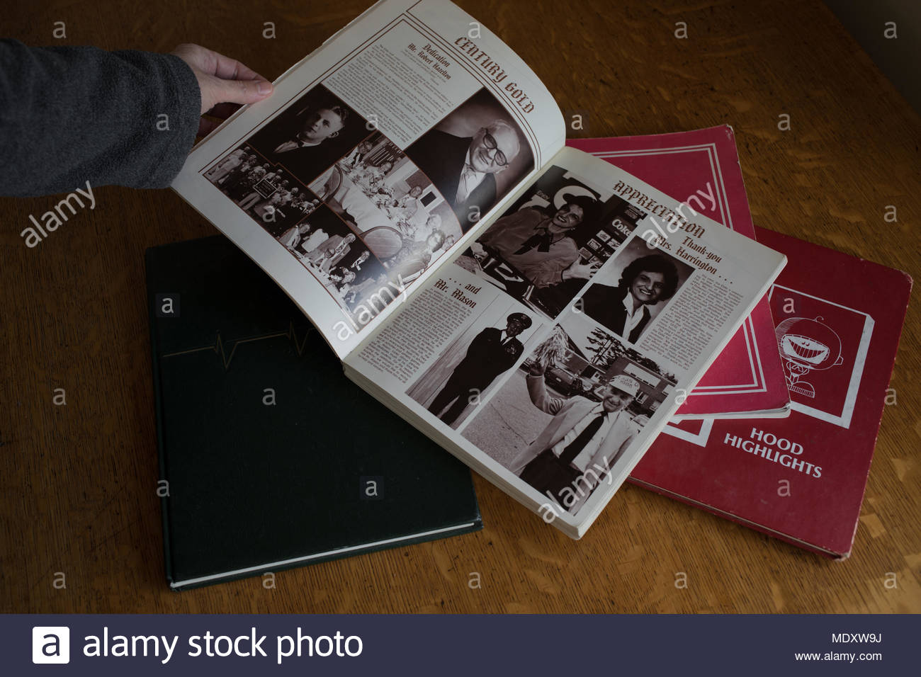 Yearbooks from the 1990's in New England, USA. Stock Photo