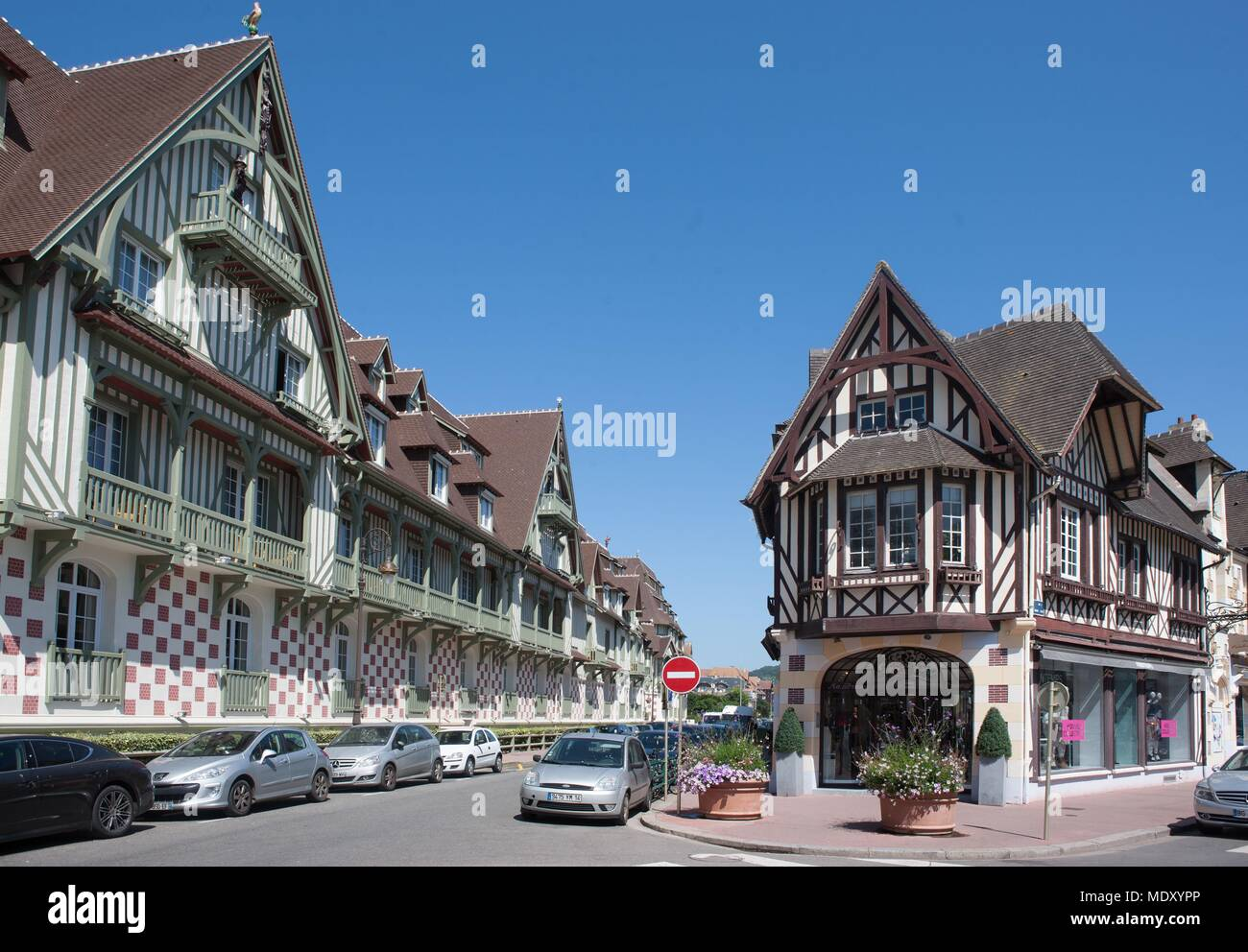 bbb8ba521b55b France, Normandy region, Calvados, Côte Fleurie, Deauville, roundabout yves  saint laurent, luxury shops, hotel normandy barrier on the left,