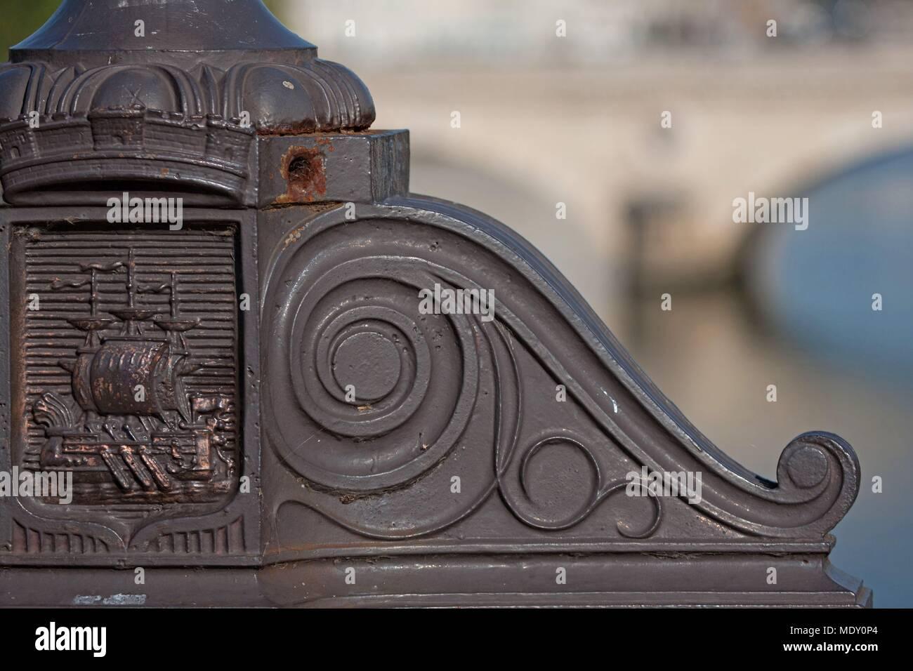 Paris, Île Saint Louis, pont marie, detail of the base of a street light, devise, flucuat nec mergitur, - Stock Image