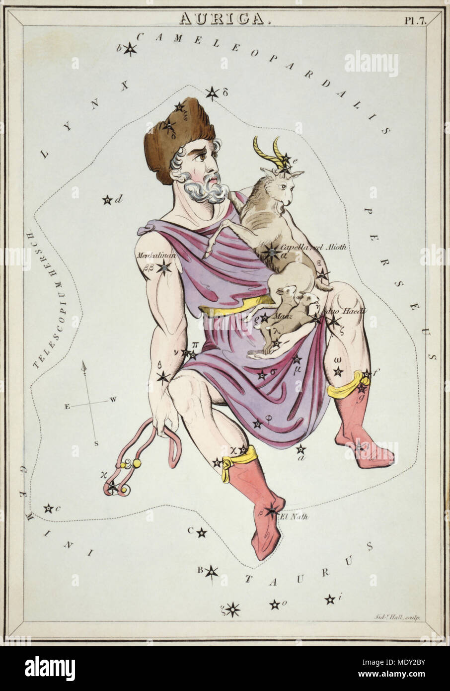 Auriga. Card Number 7 from Urania's Mirror, or A View of the Heavens, one of a set of 32 astronomical star chart cards engraved by Sidney Hall and publshed 1824. - Stock Image
