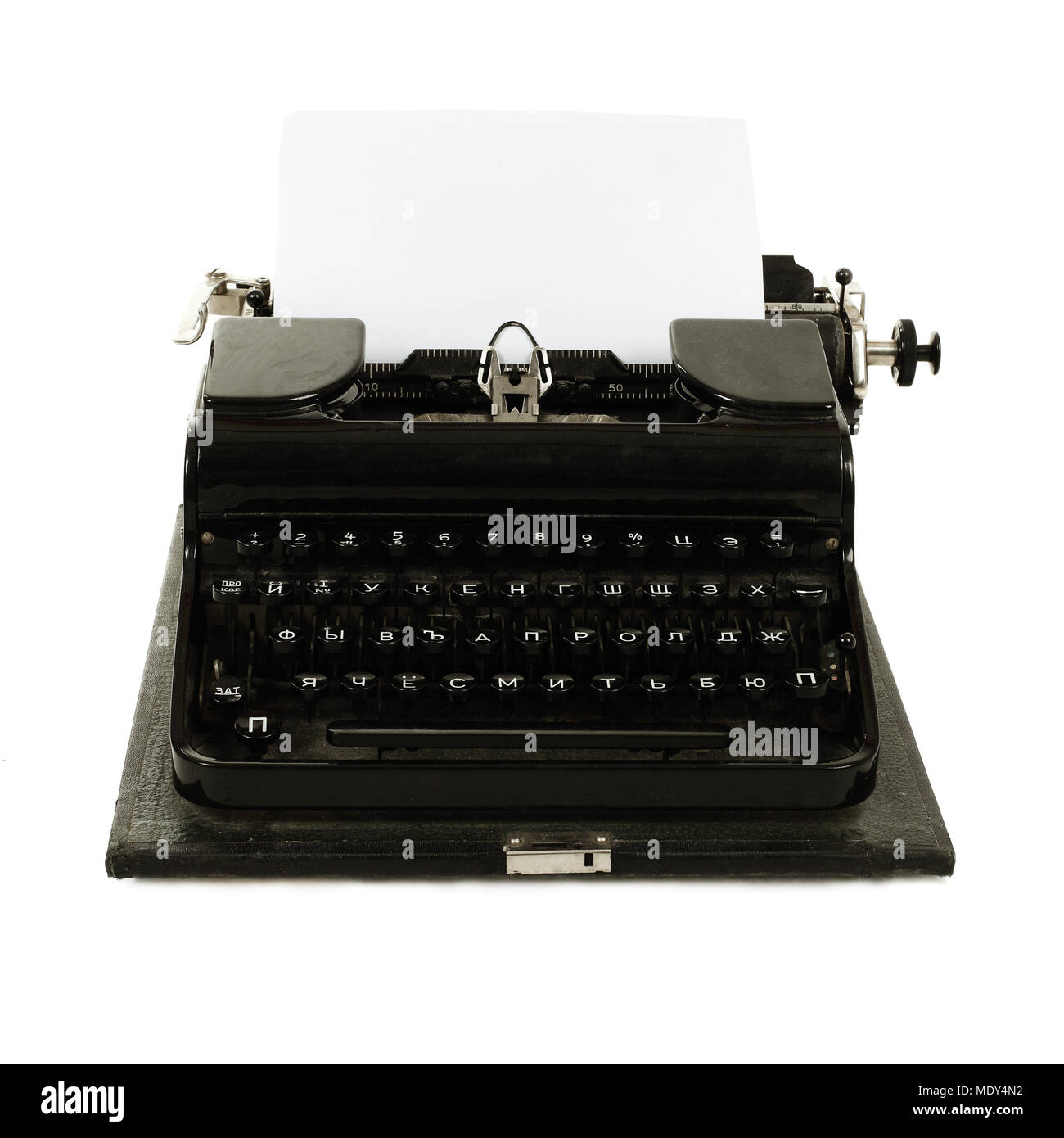 d0c2620555b Old russian typewriter with paper Stock Photo: 180690638 - Alamy