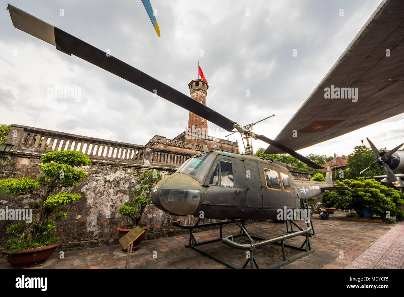 Bell UH-1 Iroquois (nicknamed Huey) utility military helicopter on display at the Vietnam Military History Museum; Hanoi, Vietnam - Stock Image