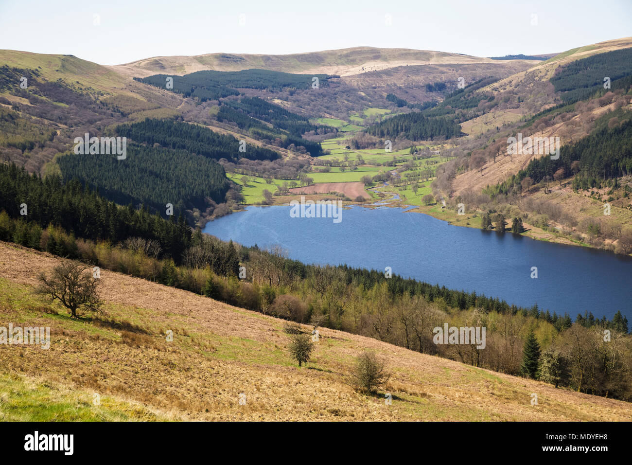 Looking Down on the Talybont Valley and Reservoir in the Brecon Beacons National Park - Stock Image