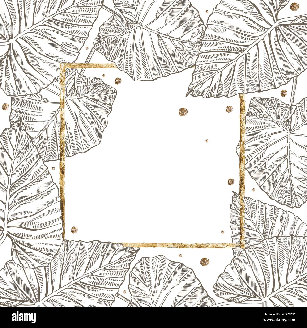 Summer tropical leaves vector design with gold frame floral summer tropical leaves vector design with gold frame floral background illustration invitation or card design with jungle leaves stopboris Image collections