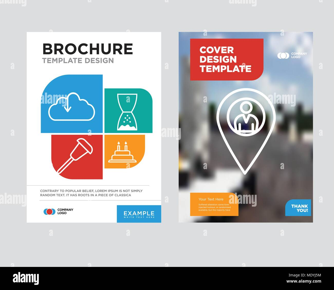 location pointer brochure flyer design template with abstract photo
