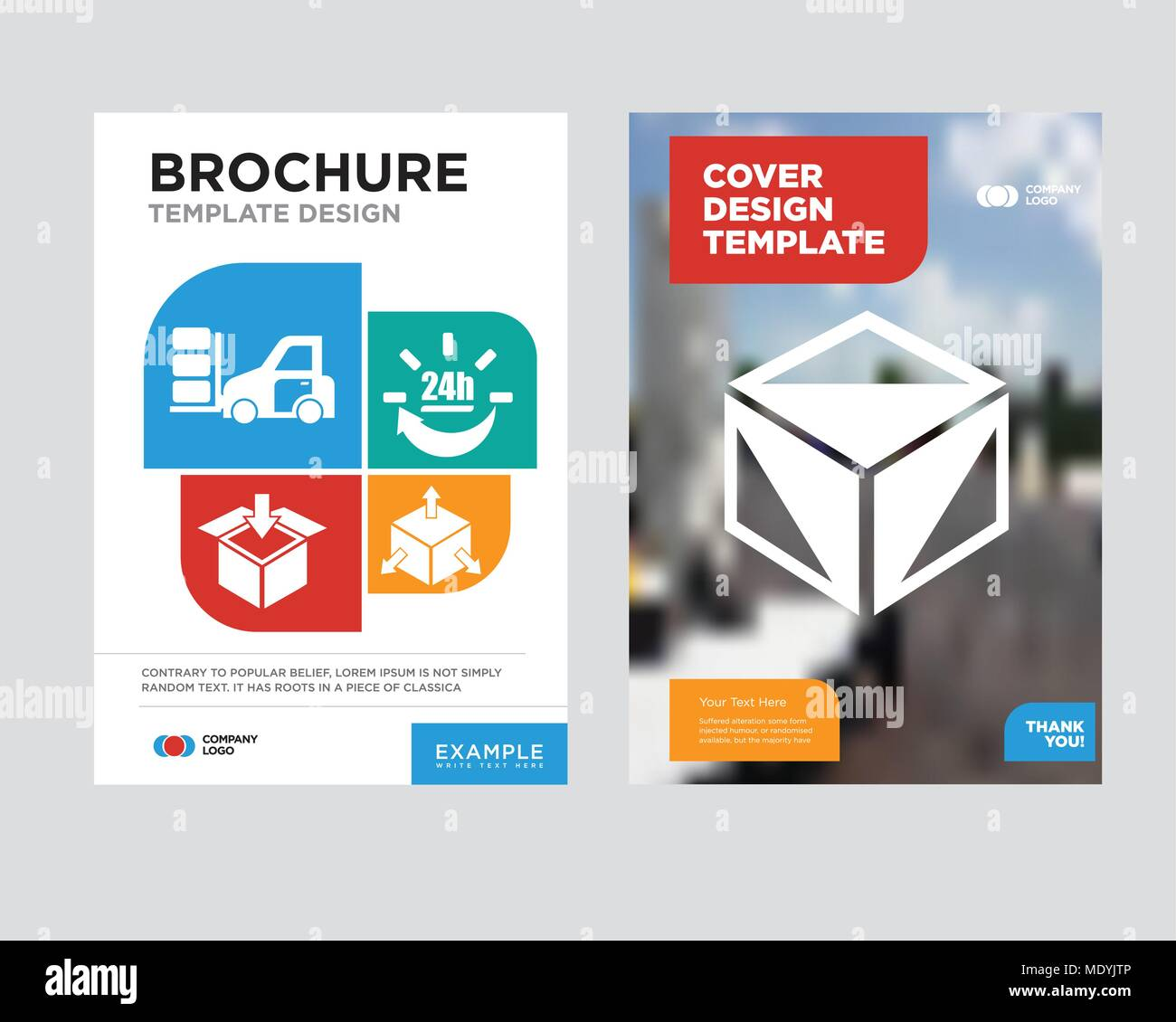package cube box for delivery brochure flyer design template with