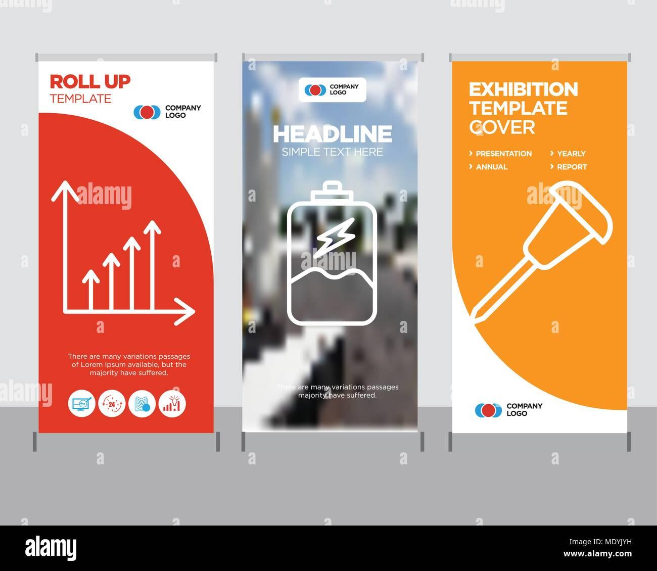 pushpin modern business roll up banner design template battery