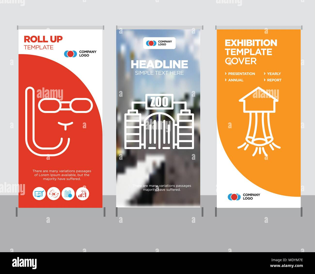 Zoo modern business roll up banner design template, table tennis.