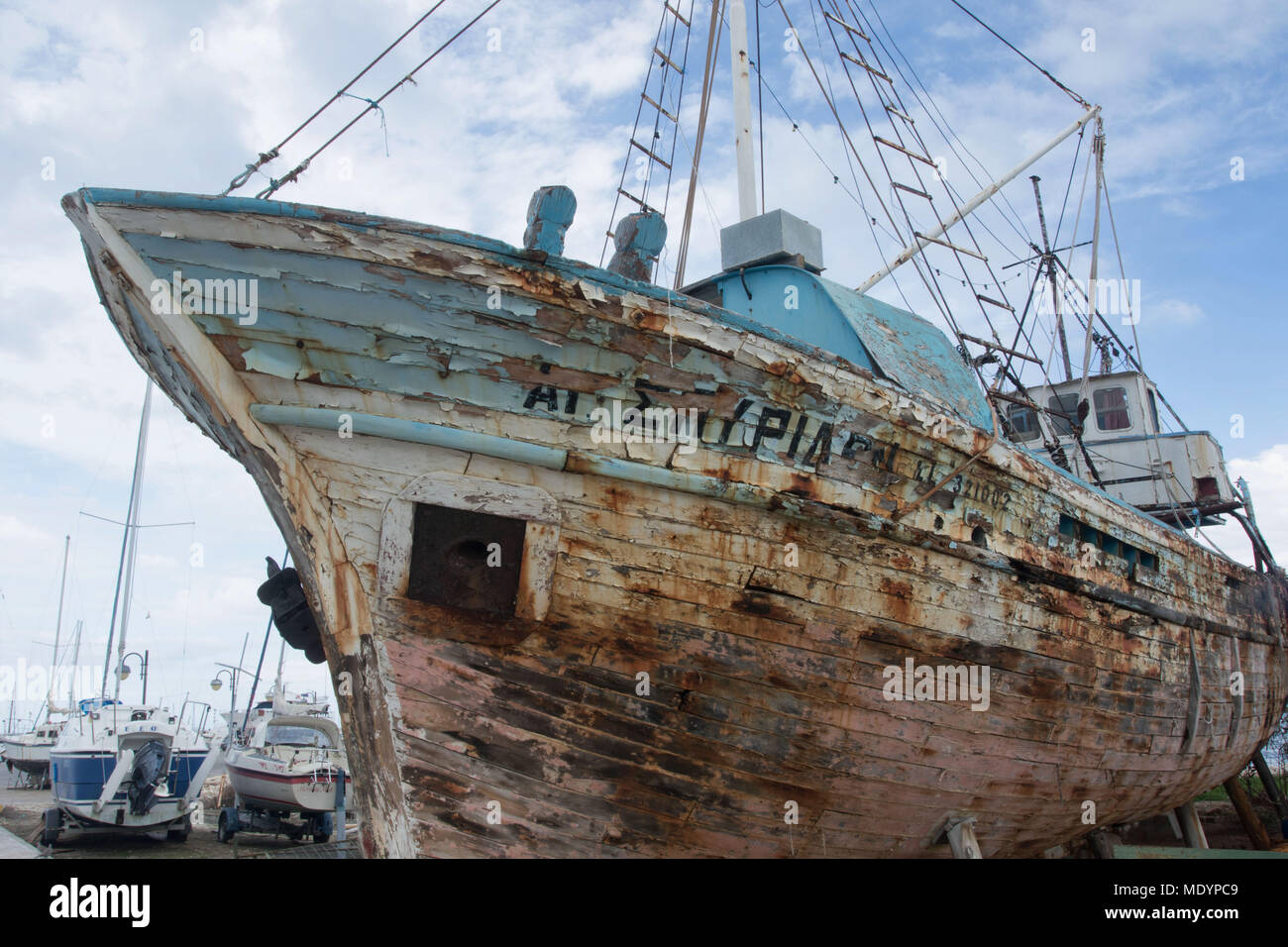 Wooden ship in need of repair, dry dock, Polis, Cyprus - Stock Image