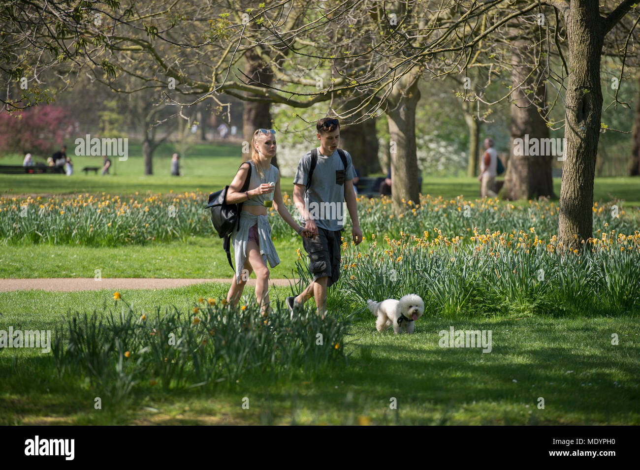 20 April 2018. Hot Spring weather in Green Park with tourists relaxing in the sun, London, UK - Stock Image