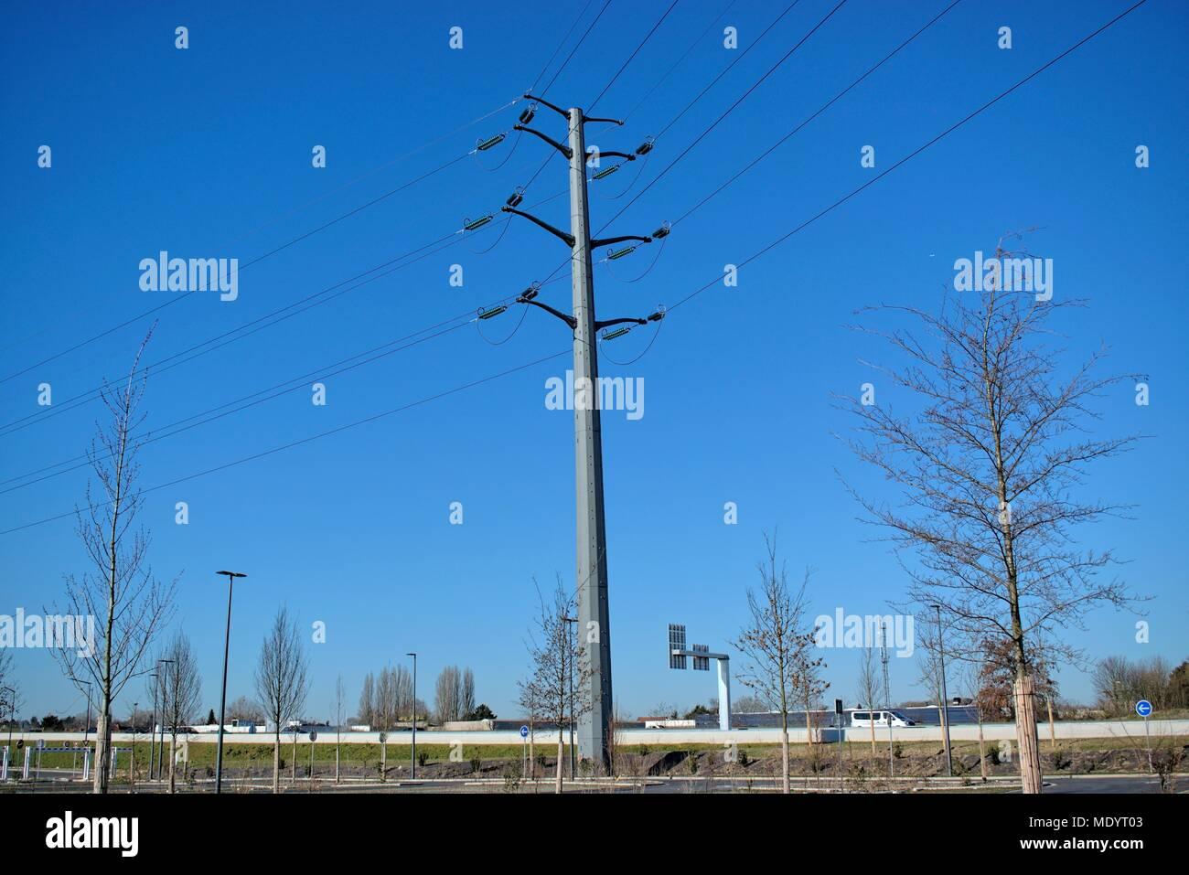 Power Transmission Line Pole Stock Photos & Power