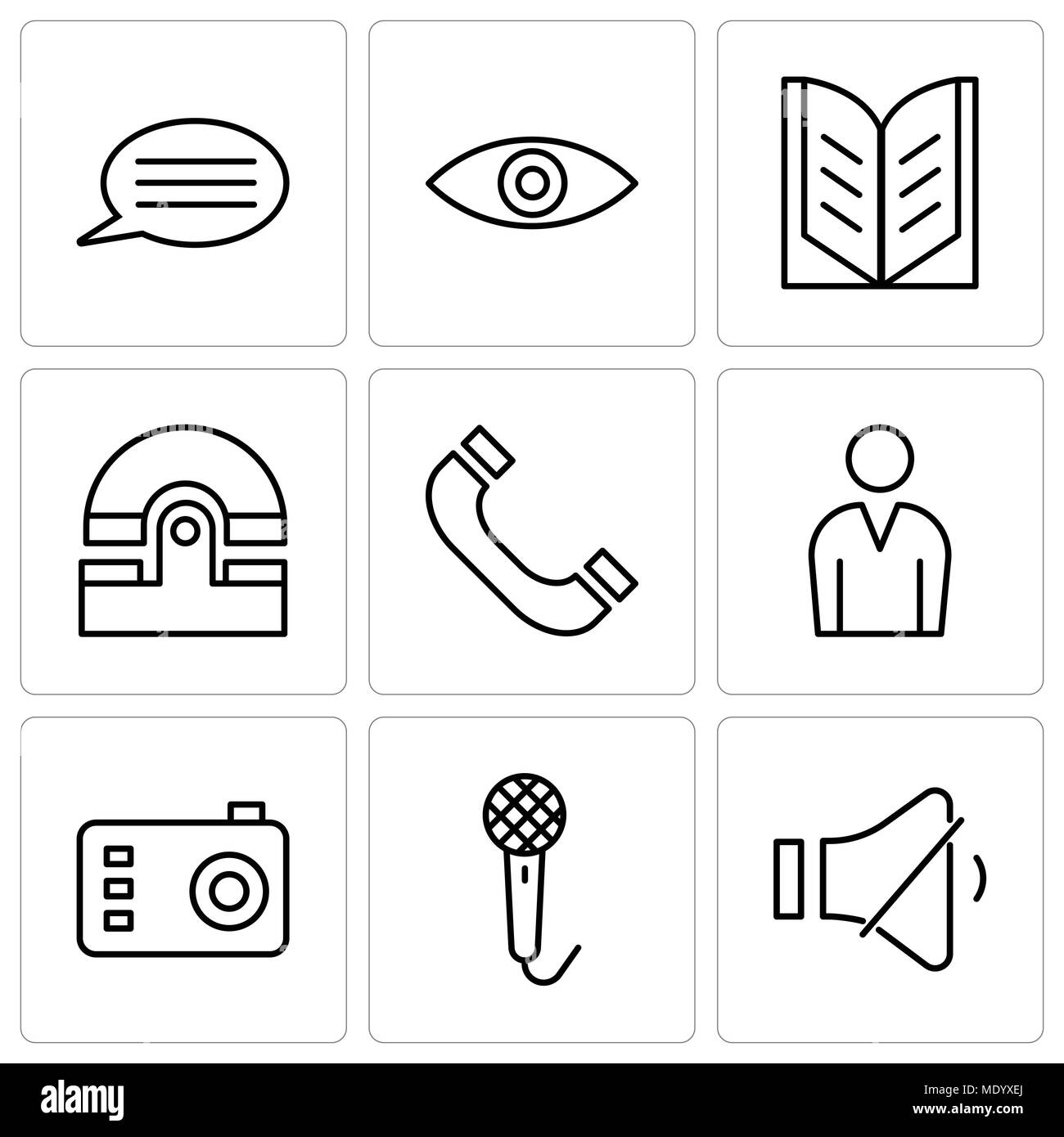Set Of 9 Simple Editable Icons Such As Volume Control Voice Speech Recorder Photo Camera Male Avatar Headphones Old Phone Open Book Eye Bubble