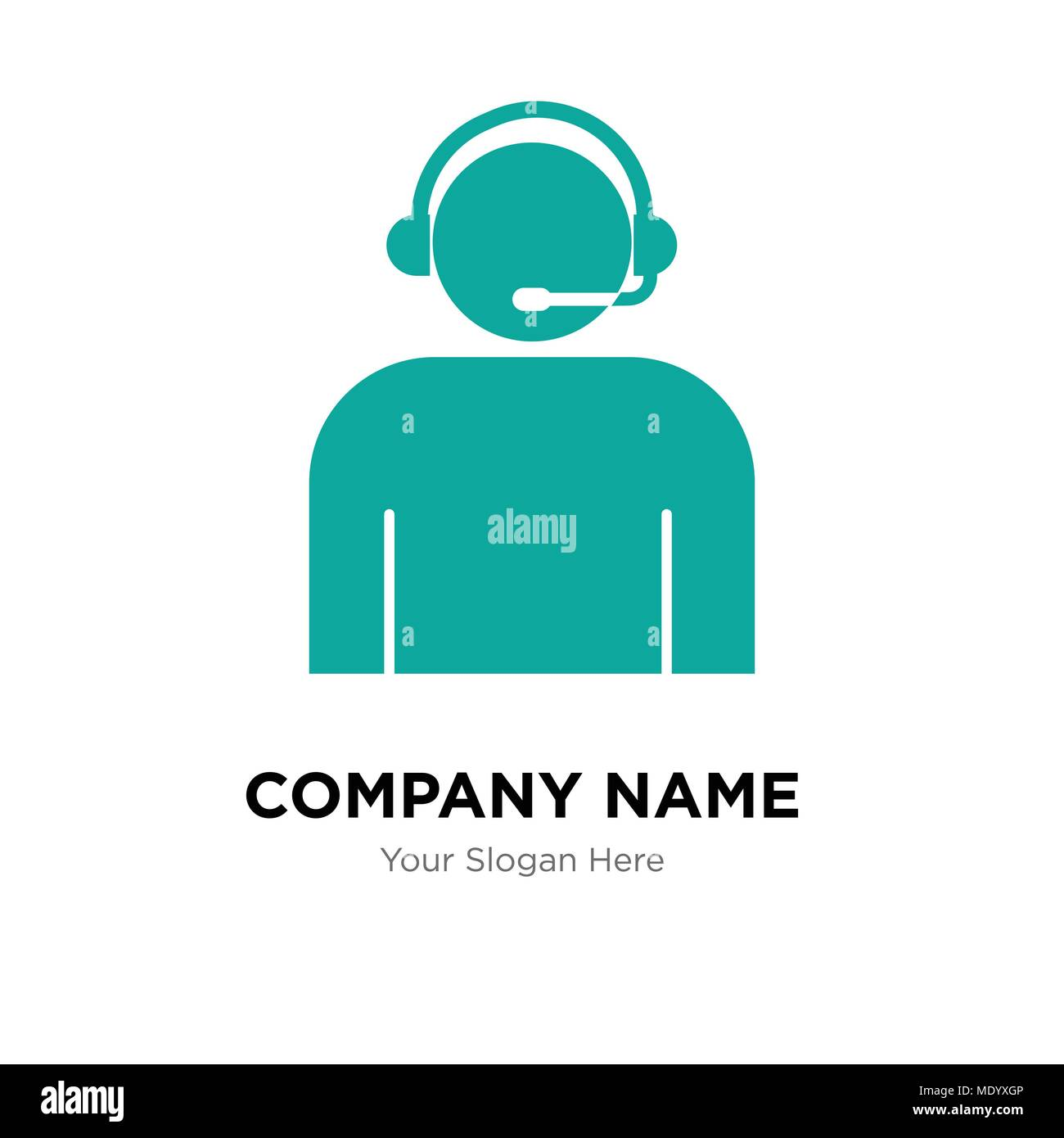 call center worker with headset company logo design template business corporate vector icon stock vector image art alamy https www alamy com call center worker with headset company logo design template business corporate vector icon image180707766 html
