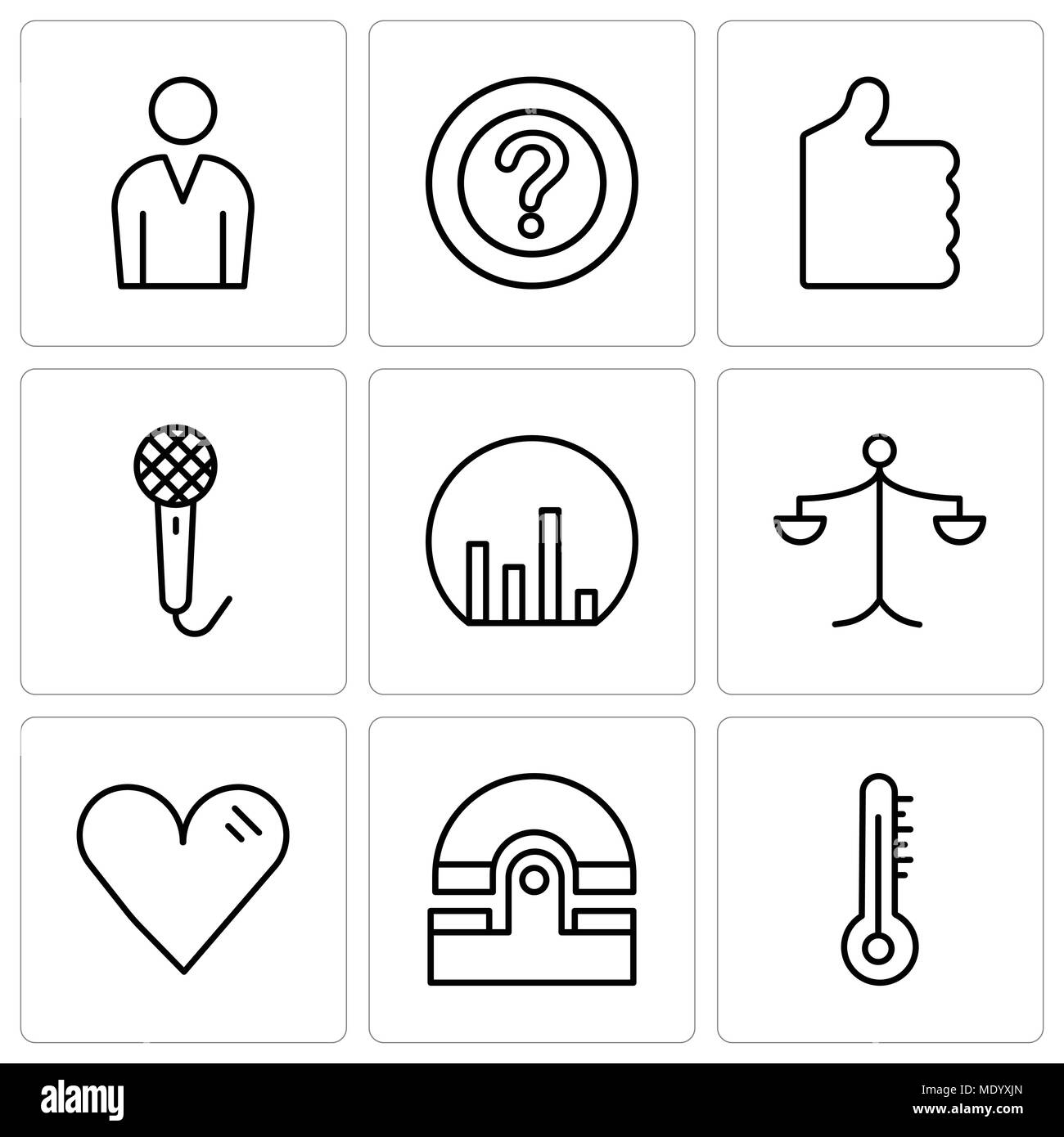 Set of 9 simple editable icons such as mercury thermometer old set of 9 simple editable icons such as mercury thermometer old phone heart weighing scale bar chart voice recorder thumb up question mark male ccuart Image collections