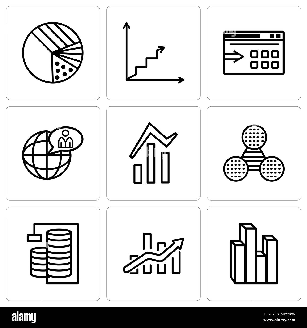 Set Of 9 simple editable icons such as Stream graphic, Bars chart, Database Analysis, Pie graphic comparison, Bars and data analytics, Global user, Da - Stock Image