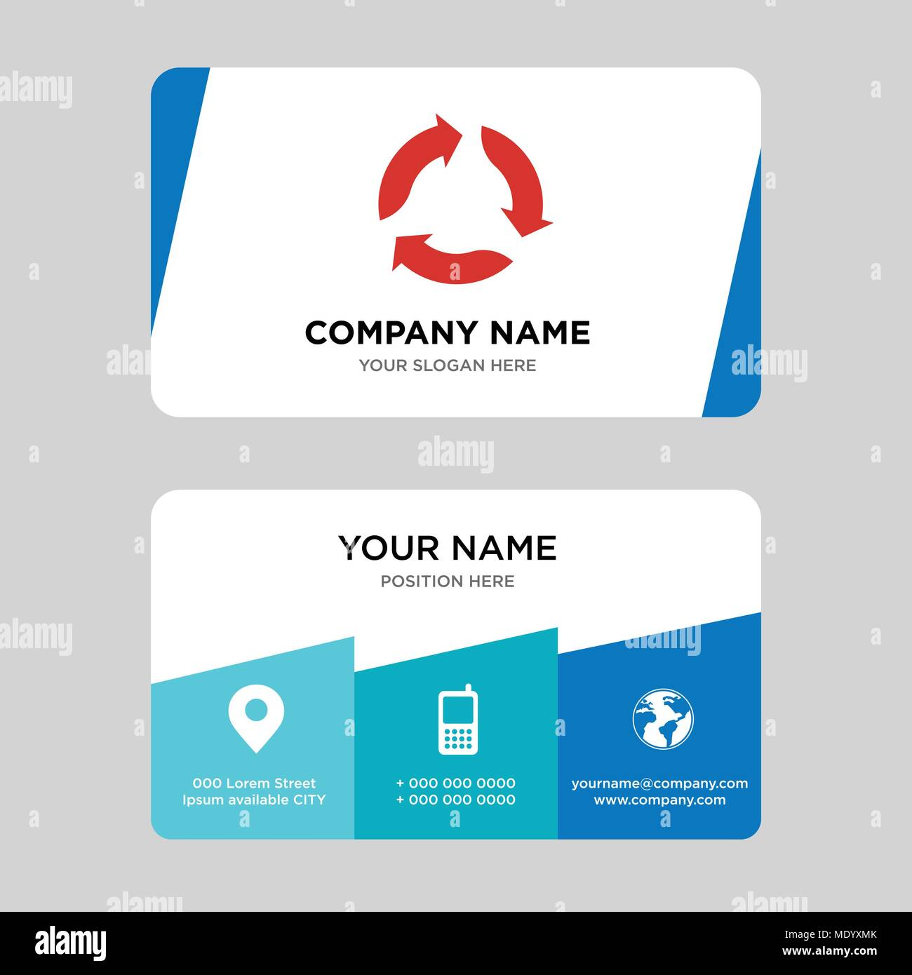 triangular arrows business card design template visiting for your