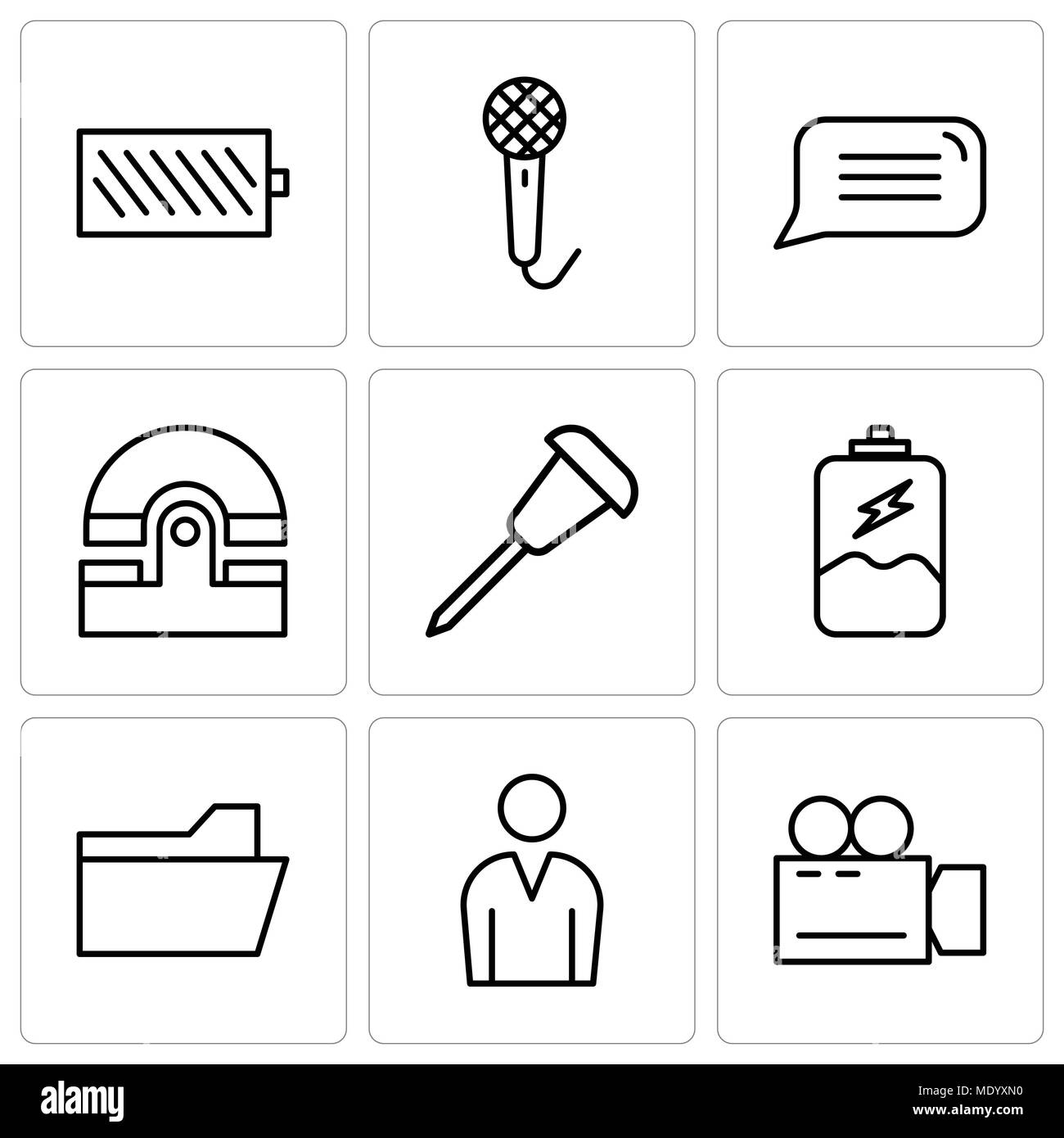 Phone Charging Cut Out Stock Images Pictures Alamy Battery Cell Diagram Editable Powerpoint Template Set Of 9 Simple Icons Such As Video Camera Male Avatar File Folder