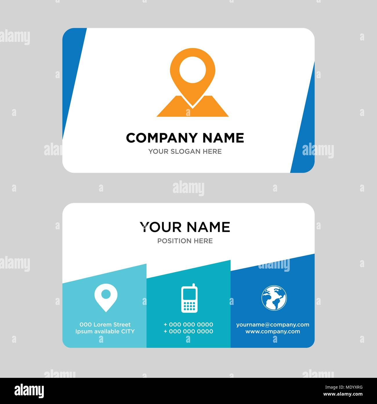 Placeholder on map paper in perspective business card design placeholder on map paper in perspective business card design template visiting for your company modern creative and clean identity card vector illus colourmoves