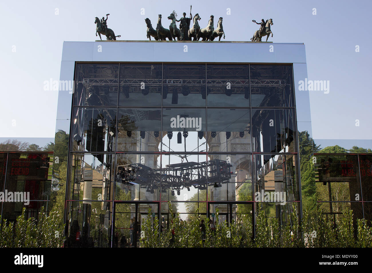 Arco della Pace, Milan, Italy, Design week 2018, Cartier Legendary Thrill installation, exterior Stock Photo
