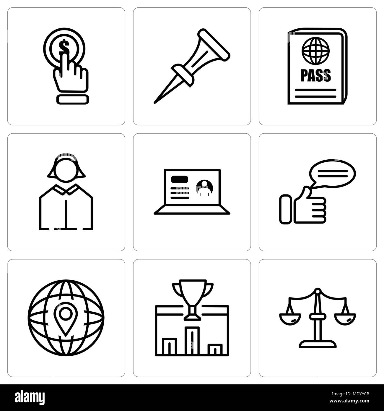Set Of 9 simple editable icons such as scales, 1st place, location, comment, laptop, business woman, passport, nail, click, can be used for mobile, we - Stock Vector
