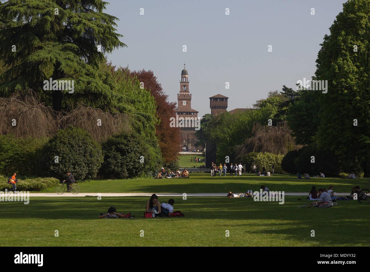 Parco Sempione, Milan, Italy, Design week 2018 Stock Photo