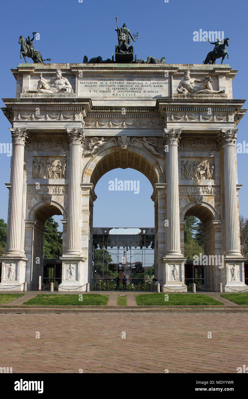 Arco della Pace, Milan, Italy, Design week 2018, Cartier Legendary Thrill installation Stock Photo