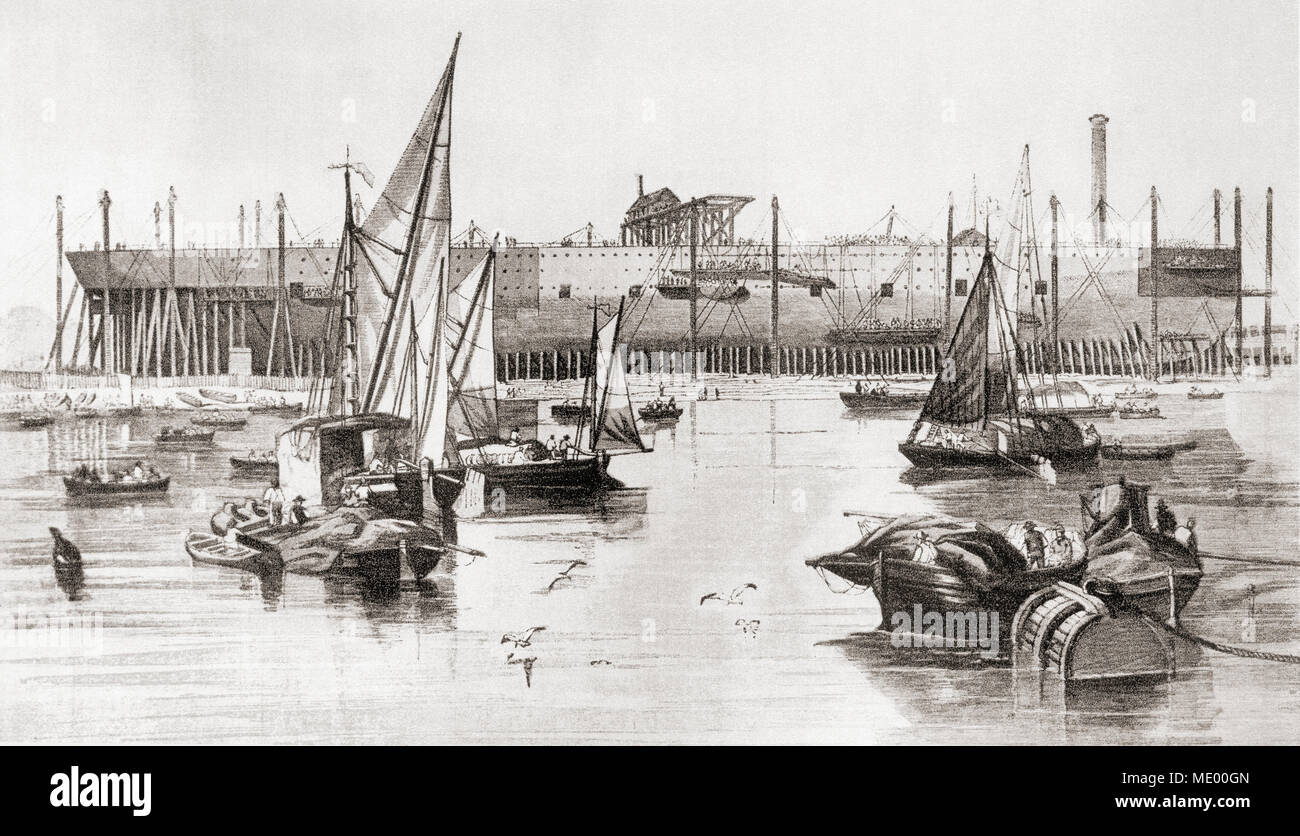 Building the S S Great Eastern steamship at the Millwall Iron Works, River Thames, London, England in 1857. From The Face of London, published 1937. - Stock Image