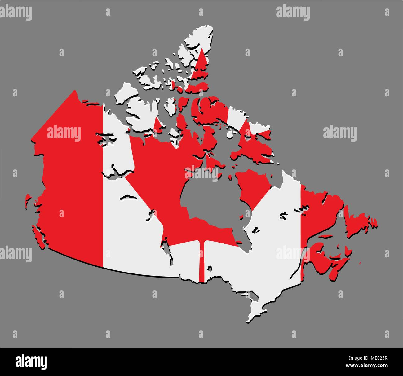 Canada map vector with the canadian flag on grey background Stock