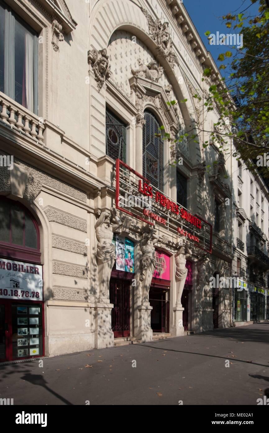 Paris, 18 boulevard Saint Martin, theatre de la porte Saint Martin, Alexandre Dumas, Stock Photo