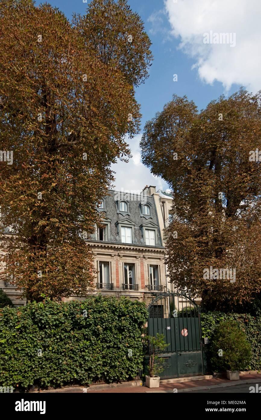 Paris,16 square de l avenue Foch, Marcel Pagnol lived here, Stock Photo
