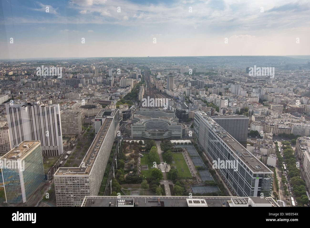 aerial view of paris from the 56th floor of the tour montparnasse jardin atlantique and railways of the montparnasse station - Jardin Atlantique