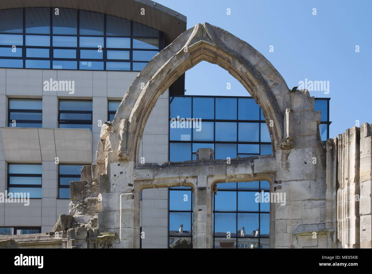 France, Rouen, ruins of the former Church Saint-Vincent, bombarded in 1944, South gate and wall, - Stock Image