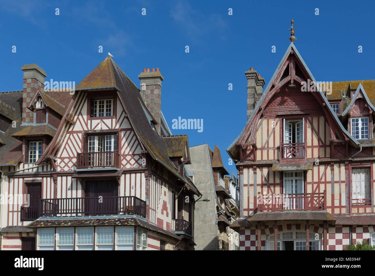 France, Normandy Region, Former Lower Normandy, Trouville Sur Mer, Beach,  Villas On The Seafront
