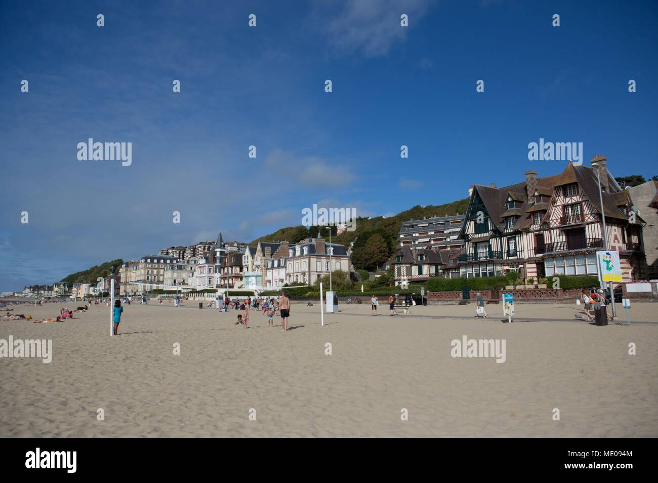 Nice France, Normandy Region, Former Lower Normandy, Trouville Sur Mer, Beach,  Villas On The Seafront