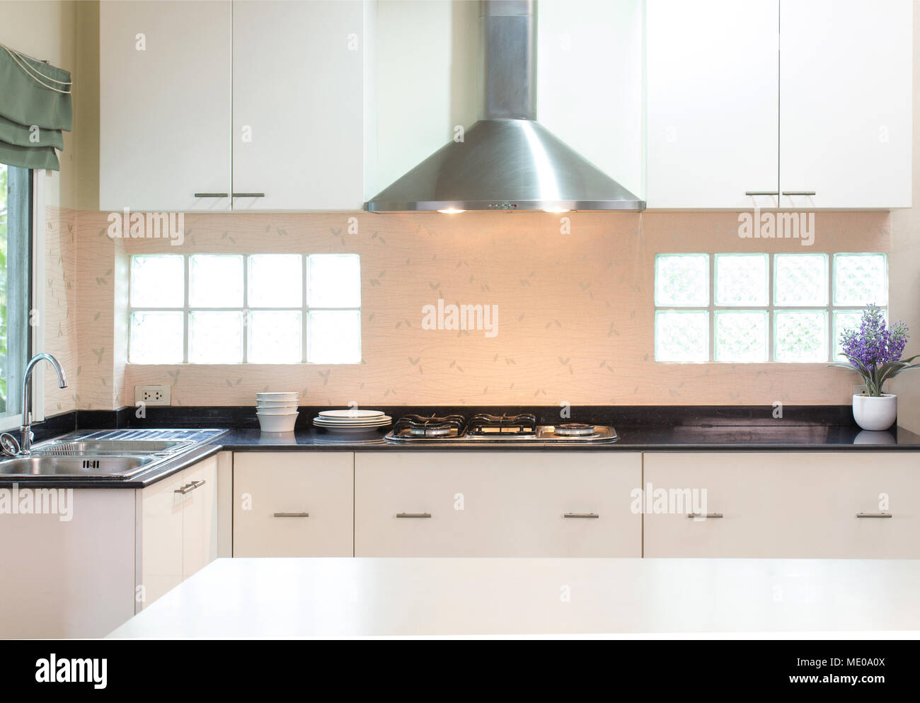 Modern Style Kitchen Counter With Cabinet Stove Chimney Hood And Washbasin